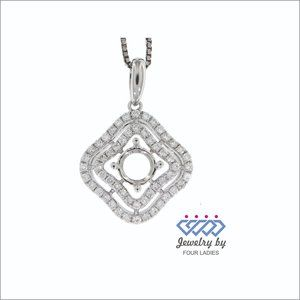 Natural Diamond Semi Mount Pendant 14K White Gold